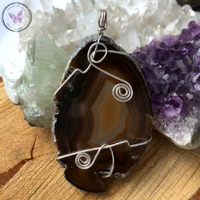 Agate Slice Silver Wire Wrapped Pendant 02